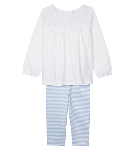 THE LITTLE WHITE COMPANY Cotton broderie top and leggings set 0-24 months (White/blue