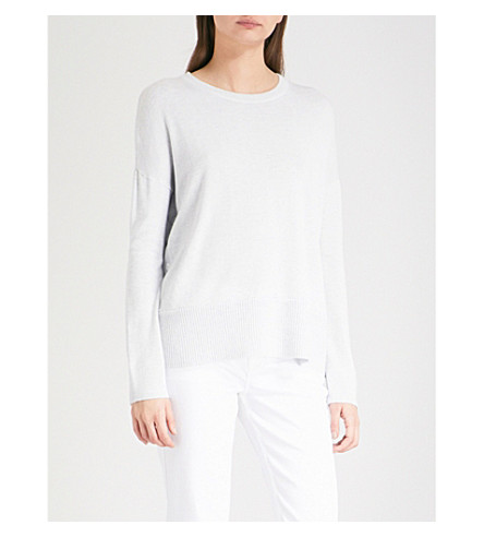 THE WHITE COMPANY Button-side knitted jumper (Pale+blue+marl