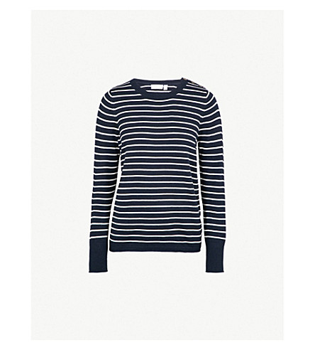 THE WHITE COMPANY Button shoulder striped knitted jumper (Navy
