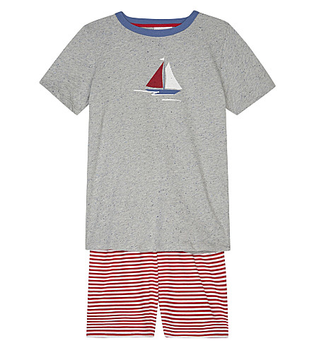 THE LITTLE WHITE COMPANY Boat and stripe cotton pyjamas 6-12 years (Multi