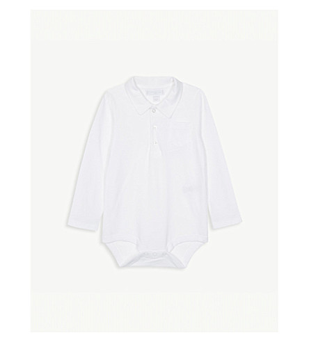 THE LITTLE WHITE COMPANY Polo cotton bodysuit 0-24 months (White