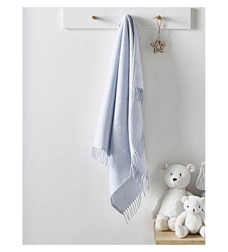 THE LITTLE WHITE COMPANY Star print fringe cotton baby blanket (Blue