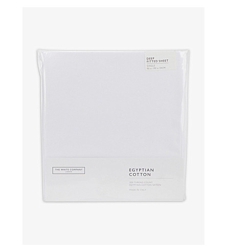 THE WHITE COMPANY Egyptian cotton sateen deep fitted single sheet (White