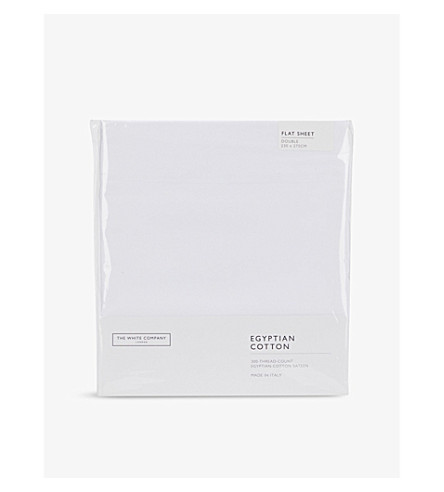 THE WHITE COMPANY Sateen Egyptian cotton double flat sheet (White