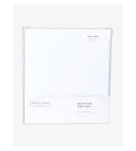 THE WHITE COMPANY Sateen Egyptian cotton superking flat sheet (White