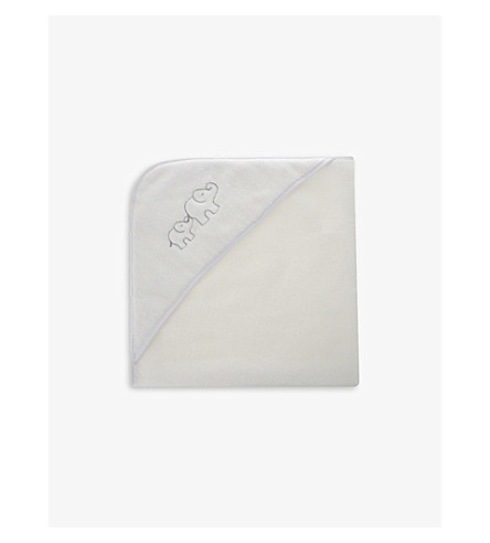 THE LITTLE WHITE COMPANY Cotton elephant hooded towel