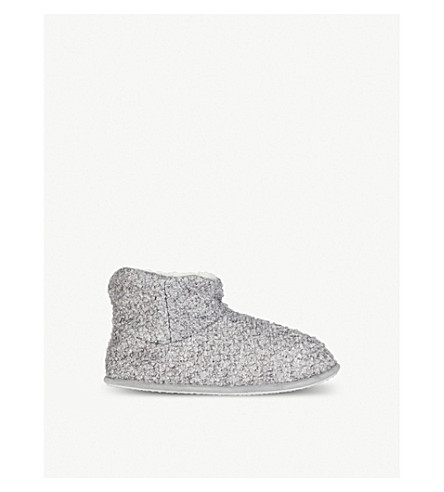 THE WHITE COMPANY Bouclé-knit slipper boots (Grey