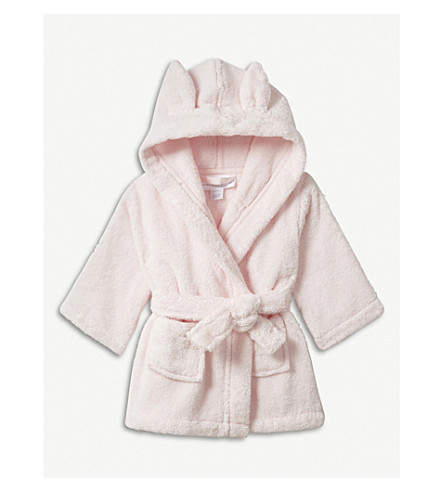 THE LITTLE WHITE COMPANY Bunny ears cotton robe 0-12 months (Pink