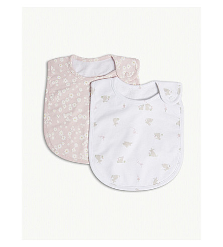 THE LITTLE WHITE COMPANY Bunny & daisy print cotton bibs set of two (White