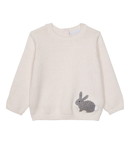THE LITTLE WHITE COMPANY Knitted bunny jumper 0-24 months (Whisper+pink