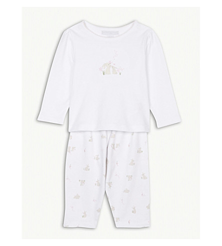 THE LITTLE WHITE COMPANY Bunny print cotton pyjamas 0-24 months (Chalk+pink