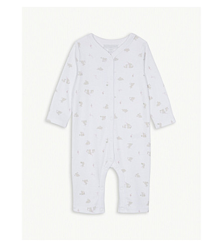 THE LITTLE WHITE COMPANY Bunny print cotton sleepsuit 0-24 months (White