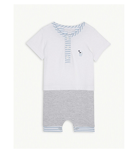 THE LITTLE WHITE COMPANY Bucket and spade cotton babygrow 0.-24 months (White