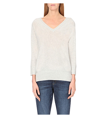 THE WHITE COMPANY Batwing knitted v-neck jumper (Pale grey marl