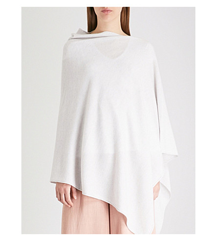 THE WHITE COMPANY Asymmetric cashmere poncho (Cloud+marl