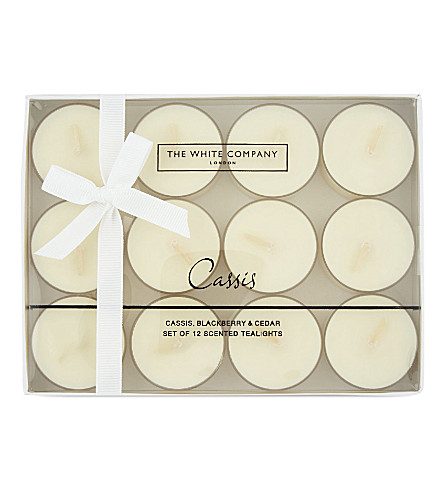 THE WHITE COMPANY Cassis scented tea lights 12-pieces (No+colour
