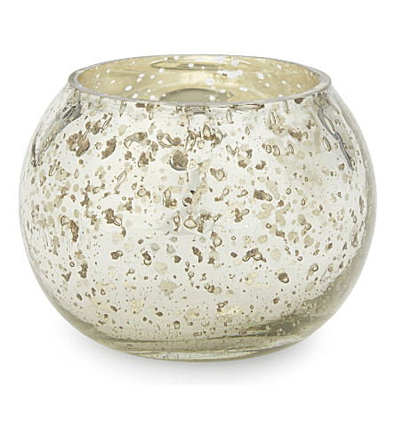 THE WHITE COMPANY Chunky bubbled small glass tealight holder (Silver