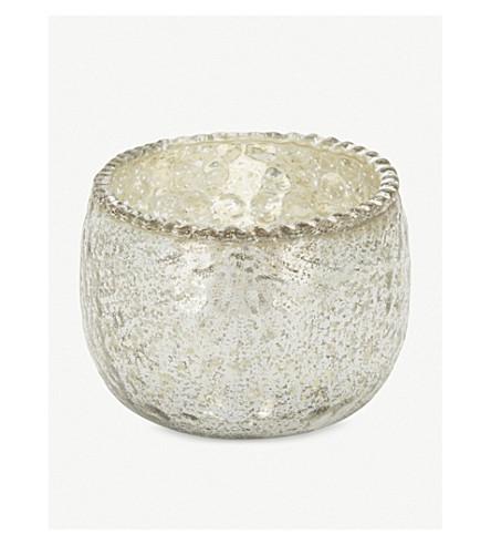 THE WHITE COMPANY Mercury glass tealight holder 6cm (Silver