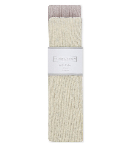 THE LITTLE WHITE COMPANY Pack of two cable knit cotton tights 3-6 years (Cream