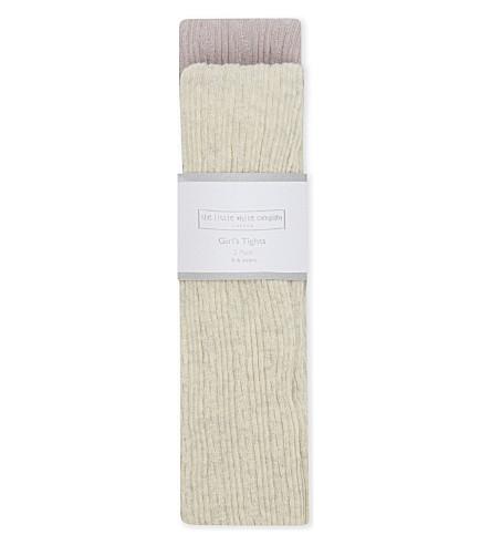 THE LITTLE WHITE COMPANY 两件装电缆针织棉紧身裤 3-6 岁(奶油