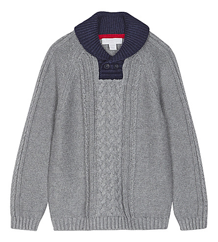 THE LITTLE WHITE COMPANY Cable-knit cotton jumper 1-6 years (Grey