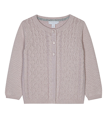 THE LITTLE WHITE COMPANY Cable-knit cotton-wool blend cardigan 0-24 months (Dusty+rose