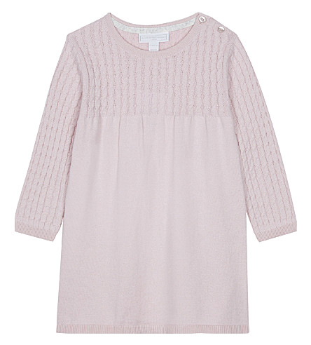 THE LITTLE WHITE COMPANY Cable-knit cotton-wool blend dress 0-24 months (Dusty+rose