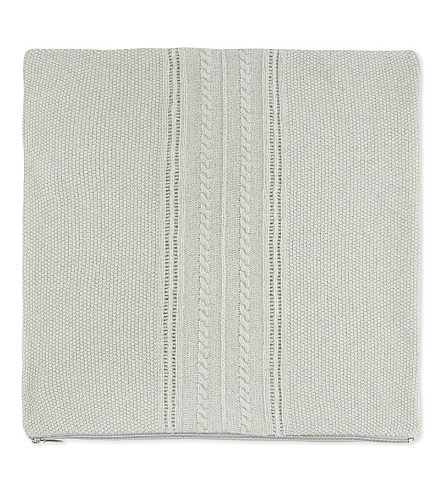 THE WHITE COMPANY Chartwell medium knitted square cushion cover (Grey