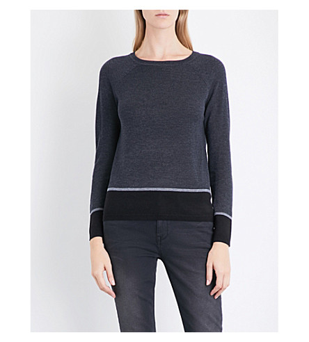 THE WHITE COMPANY Colourblock hem jumper (Charcoal+marl