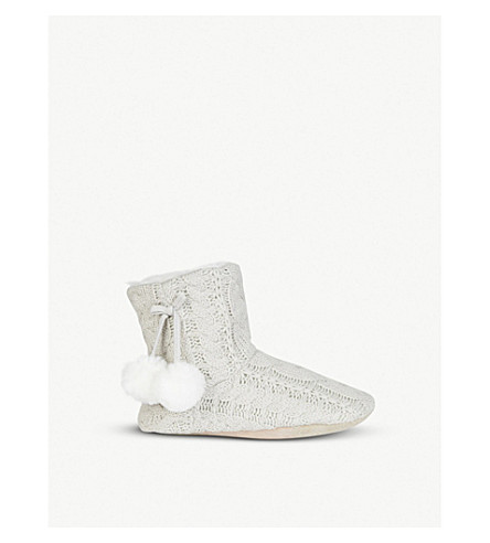 THE WHITE COMPANY Cable-knit pom-pom slippers (Pale+grey