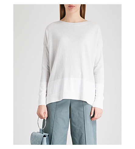 THE WHITE COMPANY Slash-neck knitted jumper (Cloud+marl