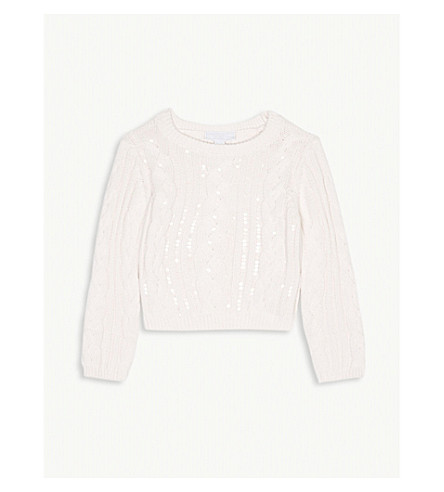 THE LITTLE WHITE COMPANY Cable knit sequin jumper 1-6 years (Pink