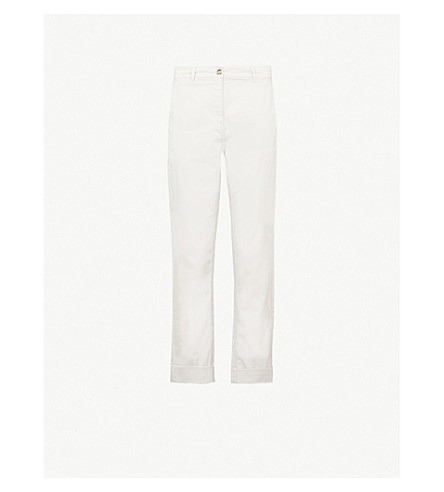 THE WHITE COMPANY Tapered mid-rise stretch-cotton chinos (Grey