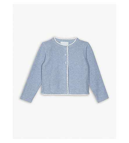THE LITTLE WHITE COMPANY Crochet trim knitted cotton cardigan 1-6 years (Pale+blue