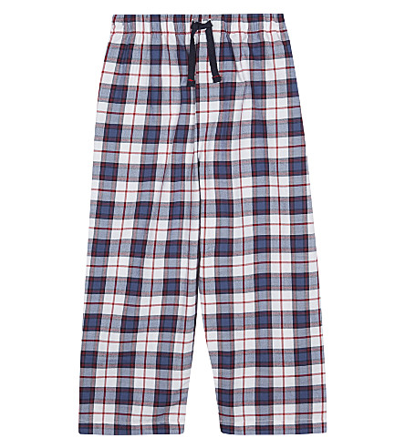 THE LITTLE WHITE COMPANY Check print cotton pyjama bottoms 2-6 years (Navy