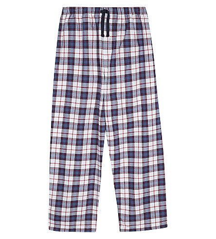THE LITTLE WHITE COMPANY Check print cotton pyjama bottoms 7-12 years (Navy