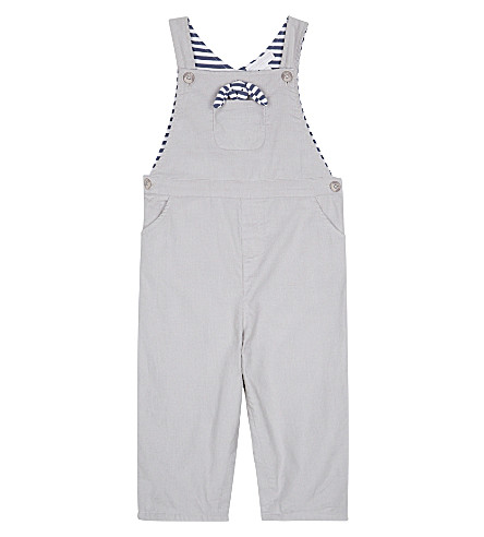 THE LITTLE WHITE COMPANY Corduroy cotton dungarees 0-24 months (Grey