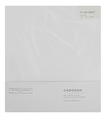 THE WHITE COMPANY Cadogan egyptian cotton double fitted sheet (White