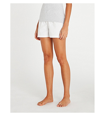 THE WHITE COMPANY Striped cotton-flannel pyjama shorts (Pink+stripe