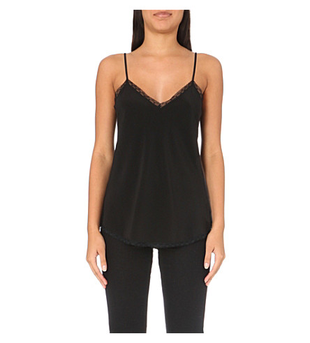 THE WHITE COMPANY Lace-trim silk camisole (Black