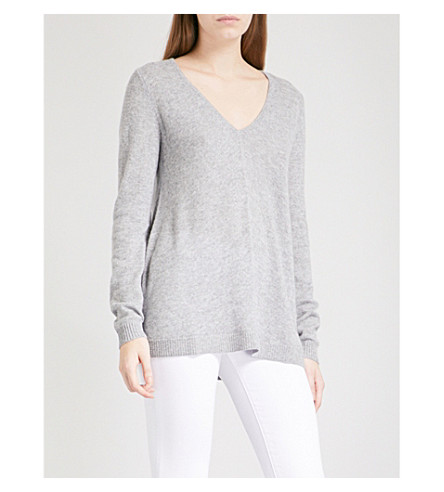 THE WHITE COMPANY V-neck cashmere jumper (Mid+grey+marl