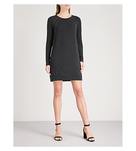 THE WHITE COMPANY Chain-detail wool and cotton-blend jumper dress (Darkcharcmarl