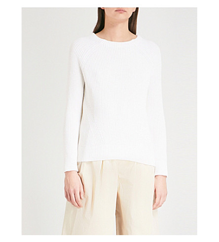 THE WHITE COMPANY Ribbed wool and cotton-blend jumper (Porcelain