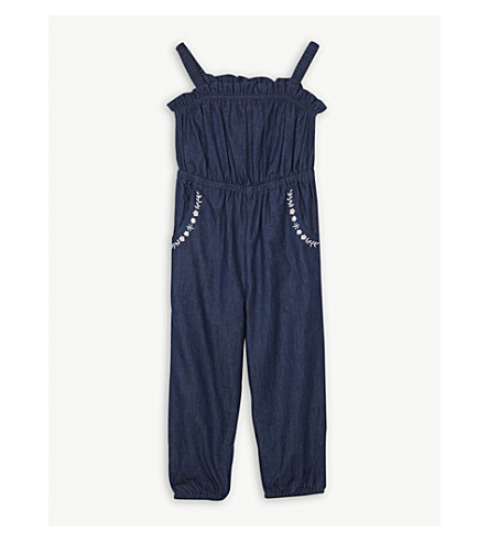 THE LITTLE WHITE COMPANY Floral cotton chambray dungarees 1-6 years (Blue