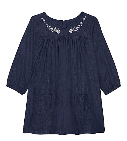 THE LITTLE WHITE COMPANY Embroidered cotton dress 1-6 months (Navy