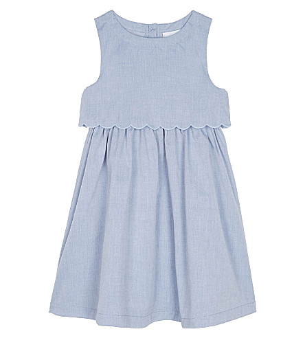 THE LITTLE WHITE COMPANY Scalloped chambray dress 1-6 years (Blue