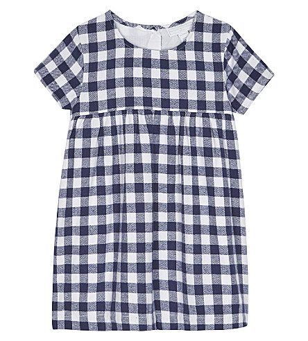THE LITTLE WHITE COMPANY Cotton gingham dress 0-24 months (Navy