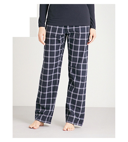 THE WHITE COMPANY Checked cotton pyjama trousers (Navy