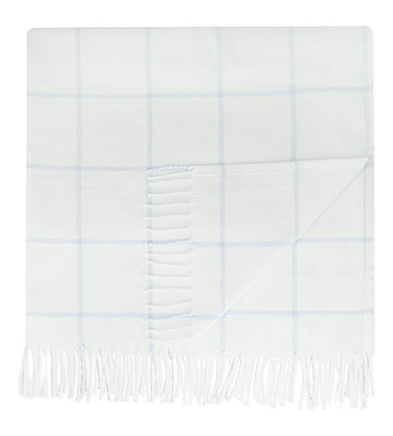 THE LITTLE WHITE COMPANY Cotton check blanket (Blue