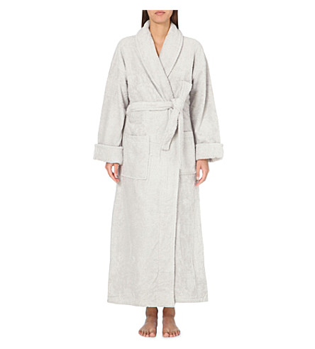 THE WHITE COMPANY Classic cotton robe (Pearl+grey